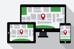 Computer, tablet PC and mobile phone with online navigation map Royalty Free Stock Photos