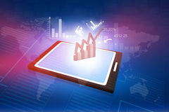 Computer tablet PC showing a spreadsheet Royalty Free Stock Photos