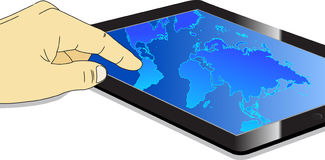 Computer Tablet PC with Touch map Screen Royalty Free Stock Images
