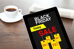 Computer tablet with sale black friday screen on table office Royalty Free Stock Photography
