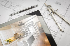 Computer Tablet Showing Kitchen Illustration On House Plans, Pen. Computer Tablet Showing Kitchen Illustration Sitting On House Plans With Pencil and Compass Royalty Free Stock Images