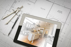 Computer Tablet Showing Kitchen Illustration On House Plans, Pen. Computer Tablet Showing Kitchen Illustration Sitting On House Plans With Pencil and Compass Stock Image