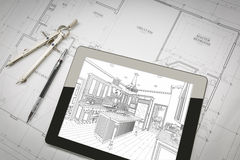 Computer Tablet Showing Kitchen Illustration On House Plans, Pen Stock Photography