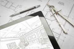 Computer Tablet Showing Room Illustration On House Plans, Pencil Royalty Free Stock Images