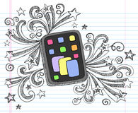 Computer Tablet Sketchy Doodle Vector. Tablet Computer Pad Hand-Drawn Sketchy Notebook Doodles with Swirls and Shooting Stars- Vector Illustration Design vector illustration