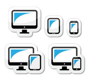 Computer, tablet, smartphone  icons set Stock Images