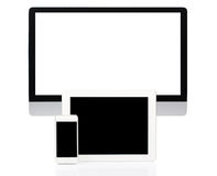 Computer, Tablet and Smartphone on White Stock Photos