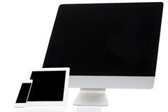 Computer, Tablet and Smartphone on White Royalty Free Stock Photos