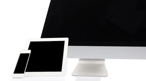Computer, Tablet and Smartphone on White Stock Photography