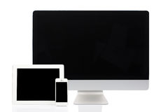 Computer, Tablet and Smartphone on White Royalty Free Stock Images