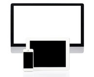 Computer, Tablet and Smartphone on White Royalty Free Stock Photography