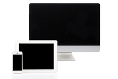 Computer, Tablet and Smartphone on White Stock Images