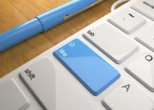 Computer-Tastatur auf hölzerner Tabelle 3d übertragen vektor abbildung
