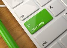 Computer-Tastatur auf hölzerner Tabelle 3d übertragen lizenzfreie abbildung