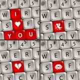 Computer-Tastatur mit Liebes-Ikone Lizenzfreie Stockfotos