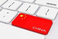 Computer-Taste mit China-Flagge und China-Zeichen renderi 3D Stockfotografie