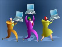 Computer team. Team of business people who work on computers - concept illustration stock illustration
