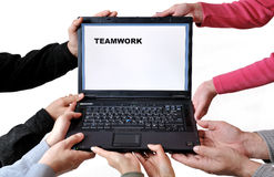 Computer teamwork Royalty Free Stock Photo