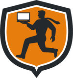 Computer Technician Carrying Laptop Running Shield Royalty Free Stock Images