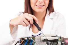 Computer technician stock image
