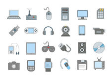 Computer technologies colorful icons set. Set of 24 Computer technologies colorful icons Royalty Free Stock Images