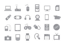Computer technologies gray  icons set. Set of 24 Computer technologies gray  icons Stock Photography