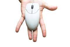 Computer technology. Hand and computer mouse. Information technology era Stock Photography