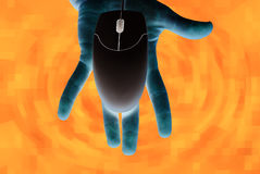 Computer technology. Hand and computer mouse. Information technology era Stock Images