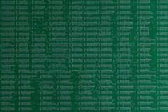 Computer technology background. Close up of green digital electronic printed circuit board. Solder side. Macro of a PCB. Telekommunikation royalty free stock image