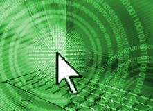 Computer technology background - green stock photo
