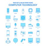 Computer Technology Blue Tone Icon Pack - 25 Icon Sets. This Vector EPS 10 illustration is best for print media, web design, application design user interface royalty free illustration