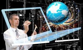 Computer technology. Engineering designing computer technology.Engineer Royalty Free Stock Photos