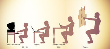 Computer Technology Evolution Timeline Pictogram Royalty Free Stock Images