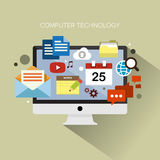 Computer Technology. Flat design stylish vector illustration desktop with cloud of colourful application icons on computer theme. Computer technology concept Stock Photos