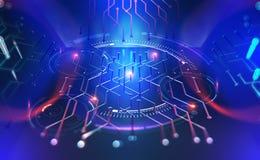 Computer technology of the future. Microchip quantum processor vector illustration