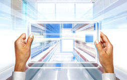 Computer technology in hands royalty free stock photo