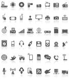 Computer Technology Icon Collection Black on White. Illustration featuring collection of 48 grey black computer technology communication icons or symbols with Stock Images