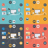 computer technology icons in flat design Stock Photo