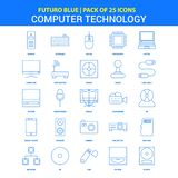 Computer Technology Icons - Futuro Blue 25 Icon pack. This Vector EPS 10 illustration is best for print media, web design, application design user interface royalty free illustration