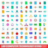 100 computer technology icons set, cartoon style. 100 computer technology icons set in cartoon style for any design vector illustration Royalty Free Stock Photo