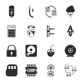 Computer, technology 16 icons universal set for web and mobile. Flat Royalty Free Illustration