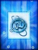 Computer Technology And Medicine. A stethoscope with an email at sign and a computer circuit board background Stock Photos