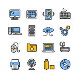 Computer Technology Outline Icon Set. Vector Royalty Free Stock Photo
