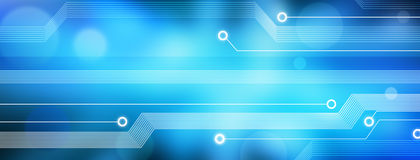 Computer Technology Information Data Banner Background. A blue panorama technology background made of an abstract computer circuit board