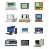 Computer technology vector evolution display telecommunication equipment metal pc monitor frame modern office network. Computer technology vector evolution Stock Photos