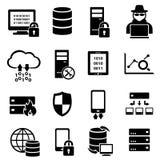 Computer, tecnologia, icone di dati Fotografia Stock Libera da Diritti