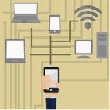 Computer, telefoon, tablet en laptop Royalty-vrije Stock Afbeeldingen