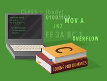 Computer and Textbooks for Informatics Studies. Portable computer and thick textbooks for Informatics studies isolated vector illustration. Open laptop with Royalty Free Stock Photos