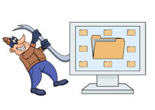 Computer thief with a crowbar 2. Illustration of the computer thief with a crowbar Stock Images