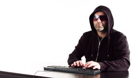 Computer thief typing on computer keyboard, hacker cybercrime white background stock video footage